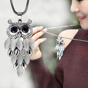 Hot Women's Lovely Owl Pendant Rhinestone Long Sweater Box Chain Necklace Jewelryintothea-intothea