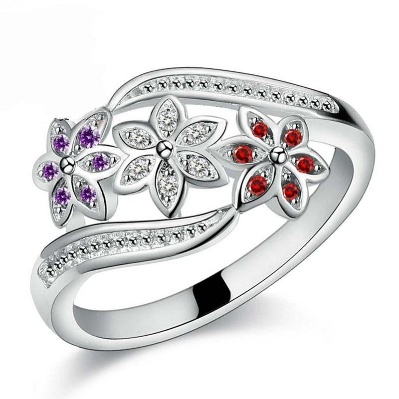 JEMMIN Funny Design Three Color CZ Flower Ring for Women Girls Fashionintothea-intothea