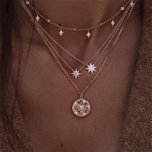 Vintage Crystal Starlight Multilayer Necklace Women Bohemian Pearl Round Coin Pendant Starintothea-intothea