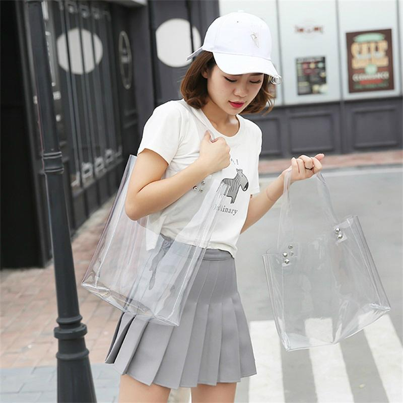 2018 Hot Sale Hologram Transparent Plastic Handbag beach Shoulder bag Womenintothea-intothea