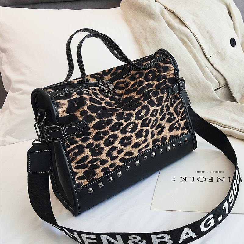 Leopard totes Rivet Fashion handbags Women Scrub shoulder bag 2018 two Shoulderintothea-intothea