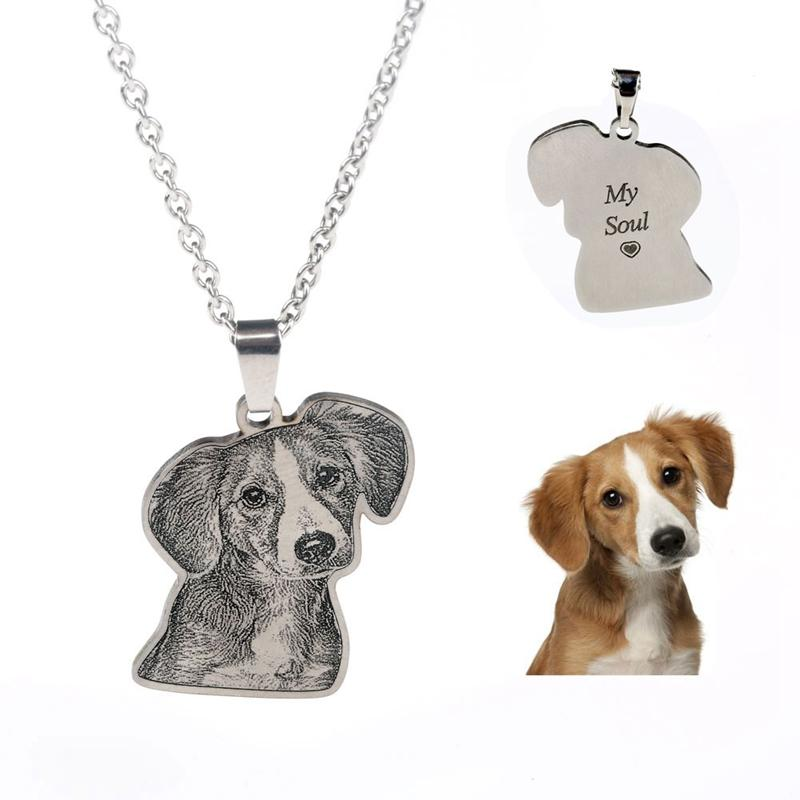 Custom Personalized Pet/Cat/Dog Photo Necklace Pendants Stainless Steel Engrave Name Necklace Womenintothea-intothea