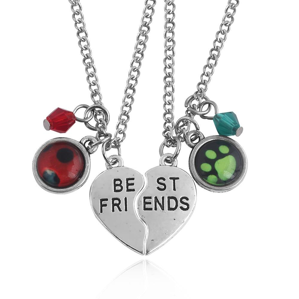 Cartoon Miraculous Ladybug Lover Necklaces Cat Noir Pendants Heart Best Friends Letterintothea-intothea