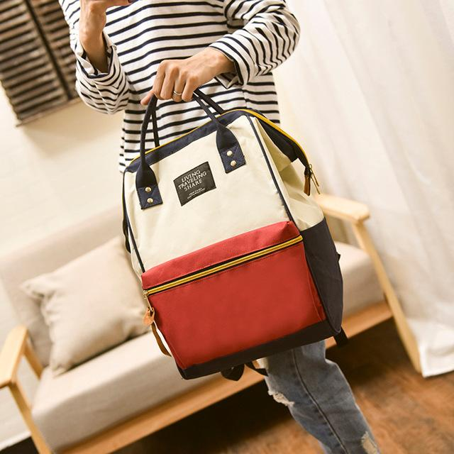 Solid Backpack School Travel Bag Double Shoulder Bag Zipper Bag Women Canvasintothea-intothea