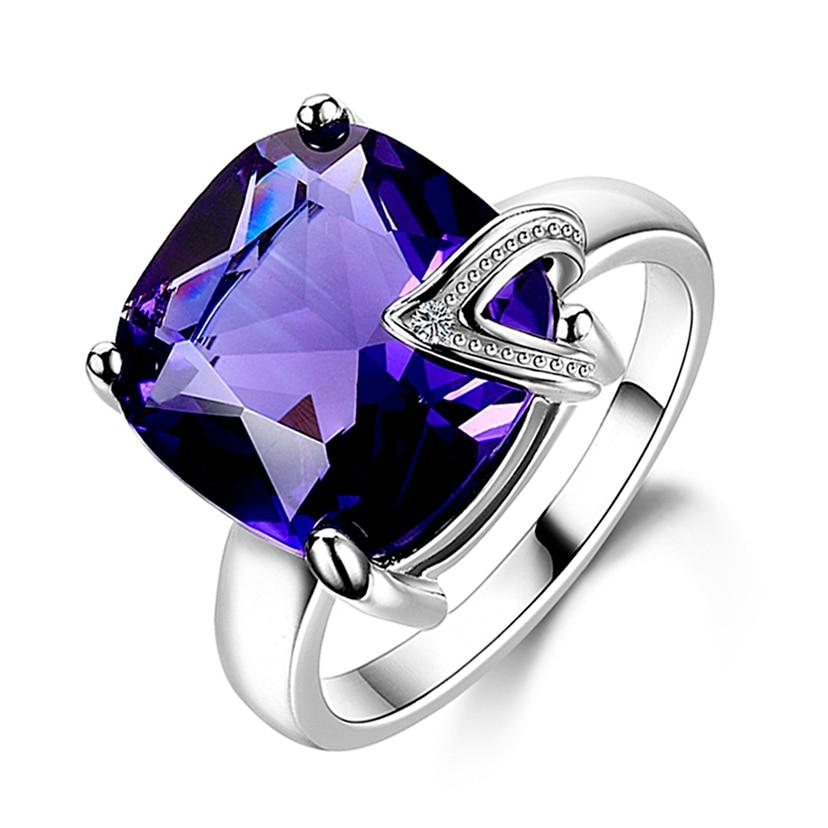 Charm 13x13MM Large Stones Natural Purple Amethyst Rings 100% Genuine 925 Sterlingintothea-intothea