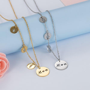 Women's Fashion Stainless steel Trendy MOM Daughter Son Necklaces Chokerintothea-intothea