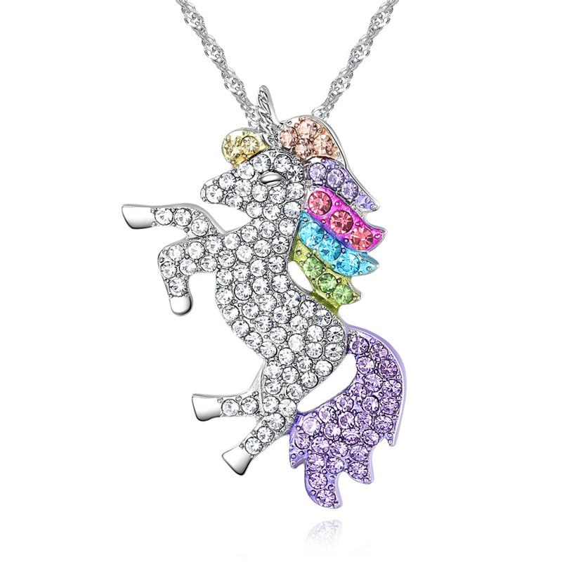 Unicorn Necklaces & Pendants Trendy Jewelry For Women Rainbow Animal collares Initialintothea-intothea