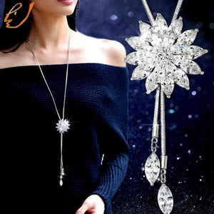 New Fashion Alloy Women Long Necklace Sweater Chain Long Flower Pendant Necklaceintothea-intothea