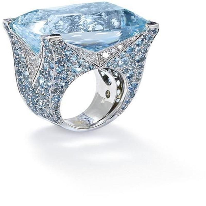 Blue Large Stone Princess Cut Silver Crystal Ring Luxury Rings for Womenintothea-intothea