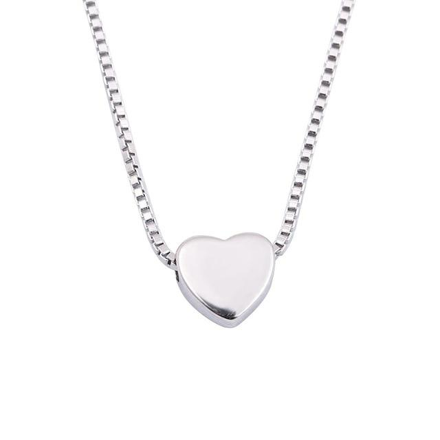 Fashion Heart Necklaces for Women 925 Silver Tiny Heart Pendant Necklaceintothea-intothea
