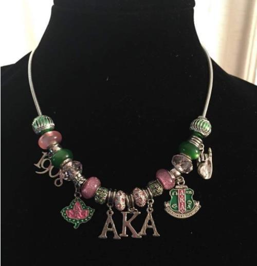 AKA letters Sorority IVY leaf Charm necklaceintothea-intothea
