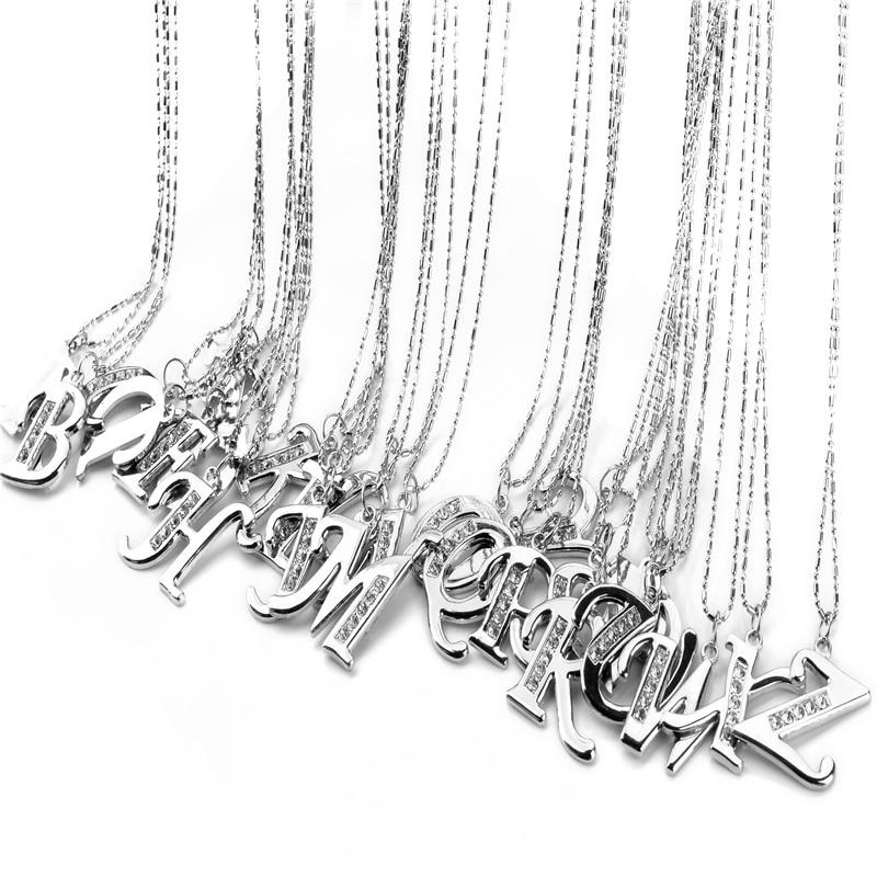 Fashion letter pendant necklace initial necklace silver chain alphabet collar necklace menintothea-intothea