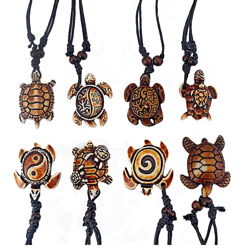 DropShipping 8pcs Mixed Styles Ethnic Tribal Faux Yak Bone Sea Turtle Pendantsintothea-intothea