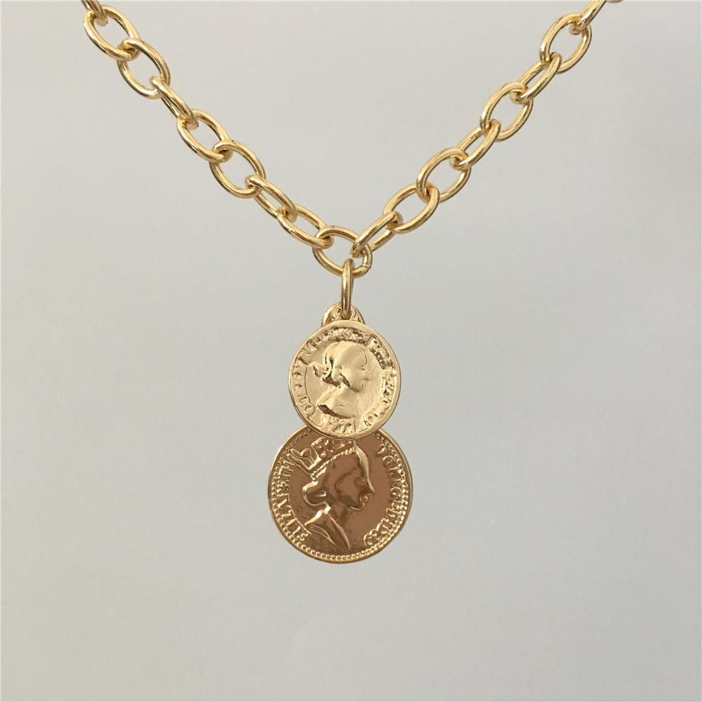 FASHION JEWELRY GOLD COLOR TWO COIN PENDANT BIG CHAIN CHOKER FOR WOMENintothea-intothea