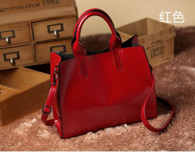 Solid Leather Bags Handbags Women Famous Brands Big Casual Women Bags Trunkintothea-intothea