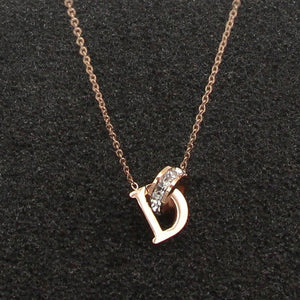 New D Letter And Crystal Annulus Interlocking Rose Gold Pendant Necklace 316intothea-intothea