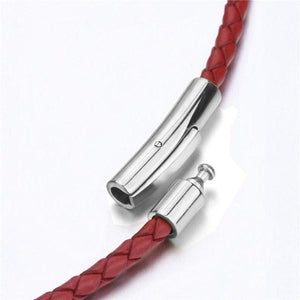 3mm Mens Womens Black/Red/Blue/Brown Braided Genuine Leather Cord Silver Stainless Steel Secureintothea-intothea
