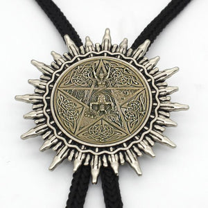 BOLO-0074 New Arrival Black Magic Pentagram Bolo Tie Trendy Steampunk Pentagram Glassintothea-intothea
