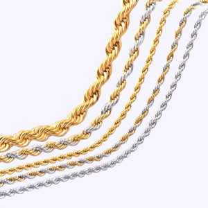 2.3/4/6mm*45-66cm Vintage stainless steel Rope chain necklace jewelry for men and womenintothea-intothea