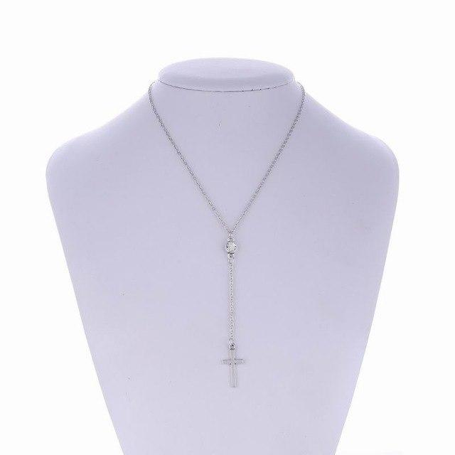 New Christian Jewelry Handmade Thin Crystal Cross Pendant Necklaces For Women Catholicintothea-intothea