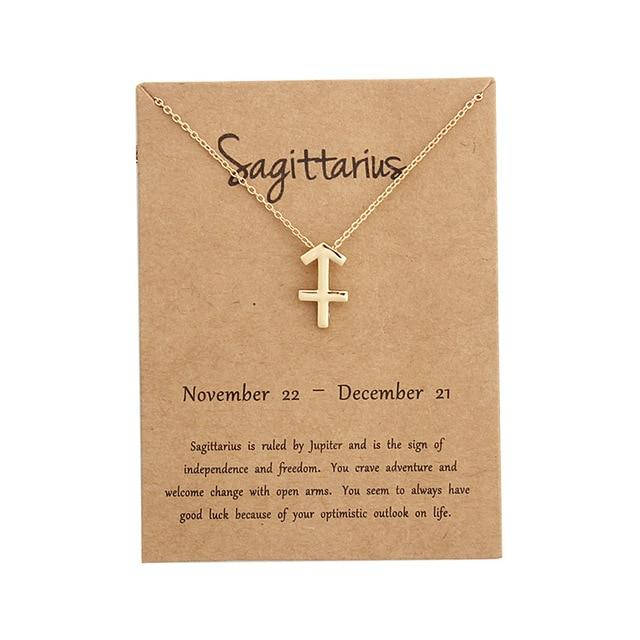 12 Constellation Pendant Necklace Zodiac Sign Necklace Birthday Gifts Message Card forintothea-intothea