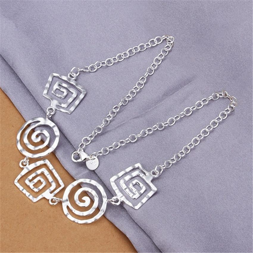 New silver plated jewelry fashion European and American style square round threadedintothea-intothea
