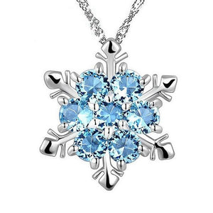 Elegant Zircon Snowflake Pendant Necklace Jewelry Fashion Christmas New Year Gifts Forintothea-intothea
