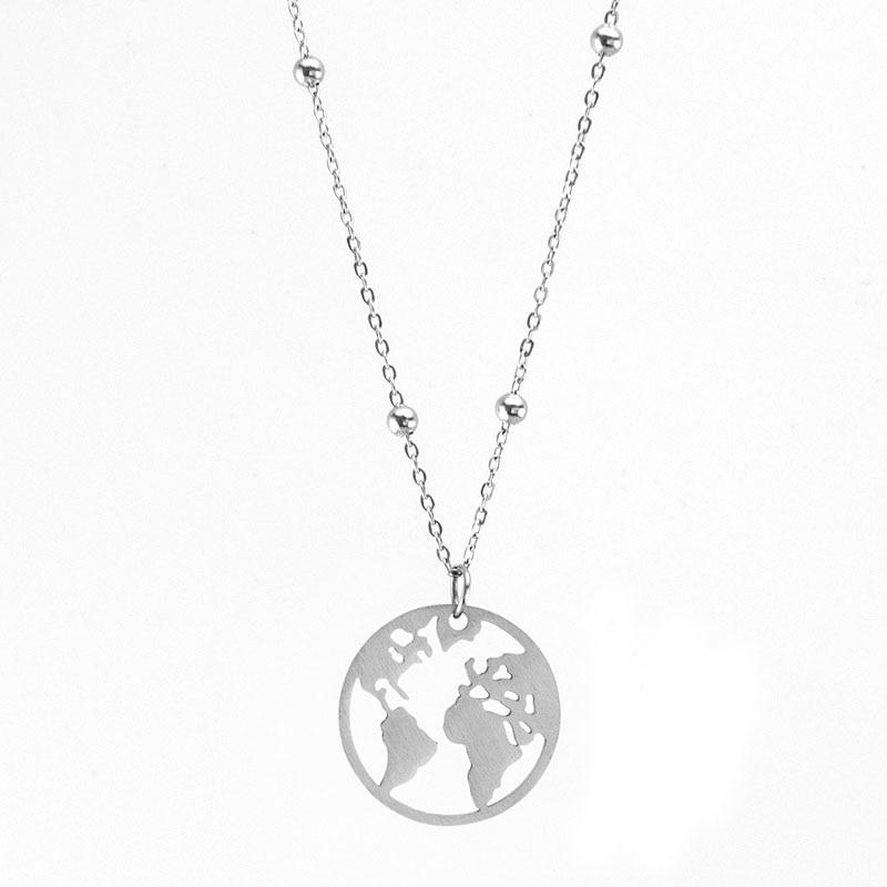 NEVER FADE 100% Stainless Steel Globe World Map Necklace For Women Menintothea-intothea