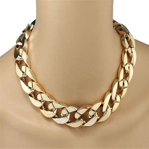 Shiny Women Chain Black Silver Gold Color Chain Byzantine Thick Stainless Steelintothea-intothea