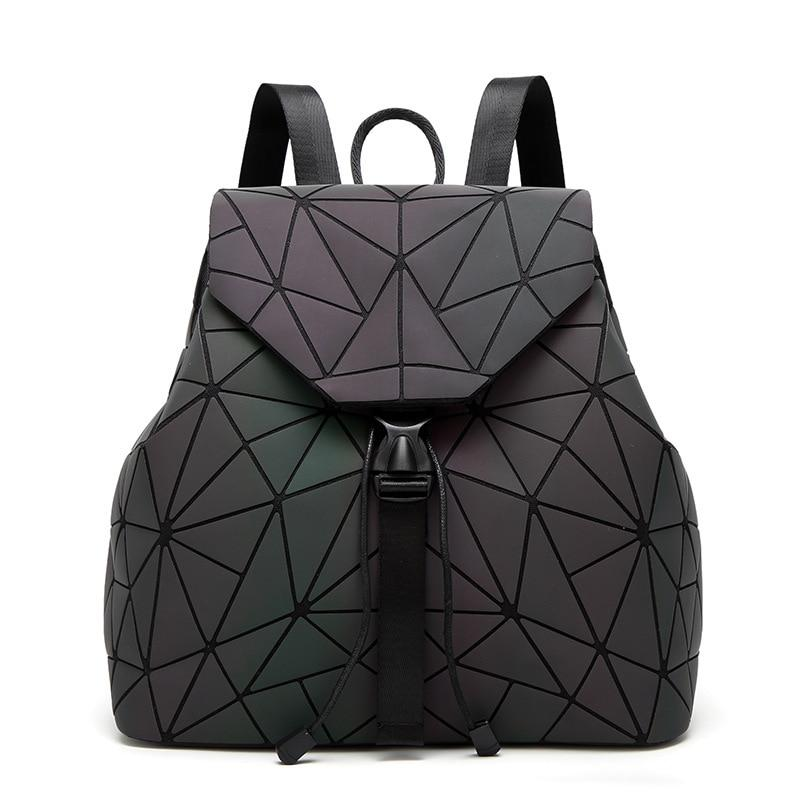 Dropshipping 2018 Luminous Backpack Women Geometric Backpacks Diamond Lattice Drawstring Backpacks Holographicintothea-intothea