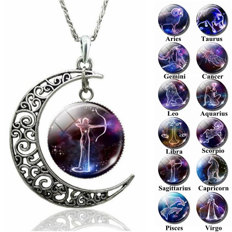 12 Zodiac Sign Crescent Moon Necklace Aries Taurus Gemini Cancer Leo Virgointothea-intothea