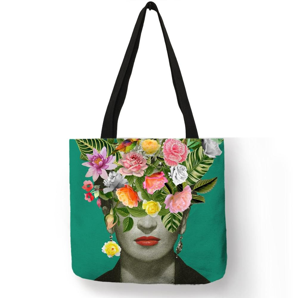Unique Artist Tote Bag Linen Reusable Shopping Bags Fashion Women Handbagsintothea-intothea