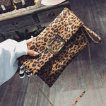 Leopard Envelope Clutches For Women 2018 Fashion Foldable Vintage leather Chain Crossbodyintothea-intothea