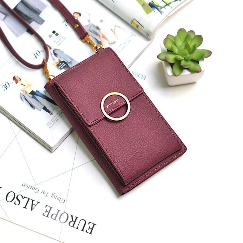 New Fashion Women Leather Messenger Phone Bags Simple Big Capacity Money Bagintothea-intothea