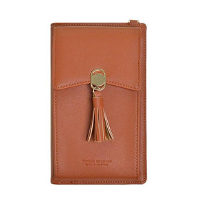 Female Retro Wallet Phone Coin Purse Shoulder Bag Solid Color PU Leatherintothea-intothea