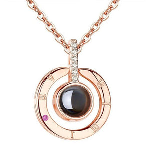 Romantic I Love You 100 Language Projection Pendant Necklace Rose Gold Silverintothea-intothea