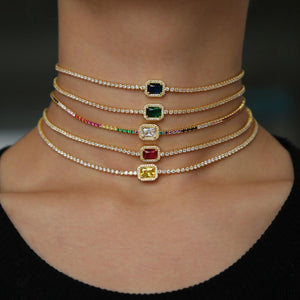 Christmas Stunning Fashion Chocker Necklace Tennis Chain Bezel Big Colorful Zircons CZintothea-intothea