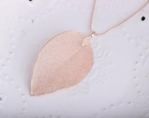 Leaves Leaf Pendant Necklace Long Chain Jewelry For Womenintothea-intothea