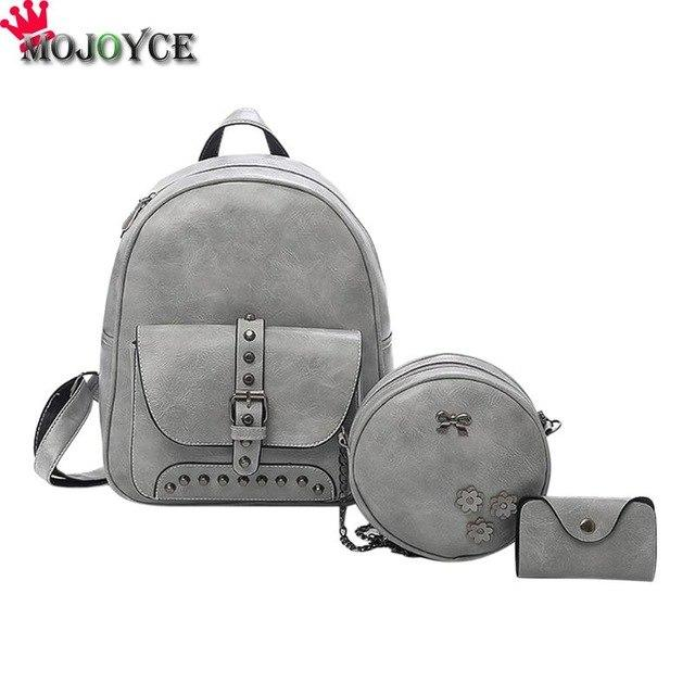 3pcs PU leather Rivet Backpack Women Shoulder Card Bag Crossbody Composite Setintothea-intothea