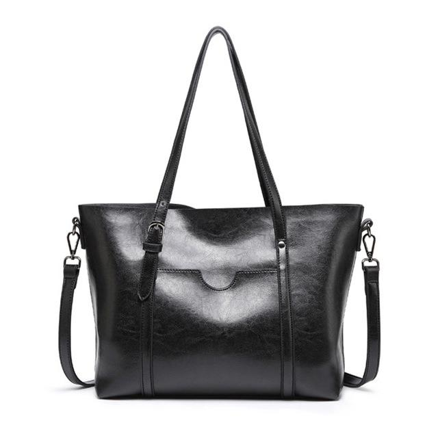 Oil Wax PU Leather Large Capacity Tote Bagintothea-intothea