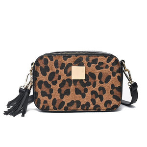 leopard print mini bag tassel Small Handbags women leather & Scrub messengerintothea-intothea