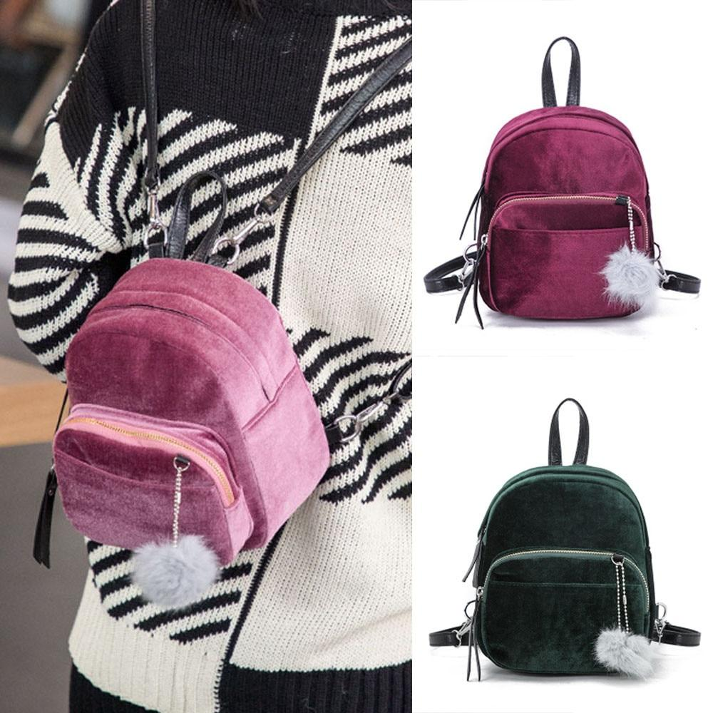 Mini Fur Solid Ball Backpack Fashion Shoulder Bag Solid Women Girls Zipperintothea-intothea