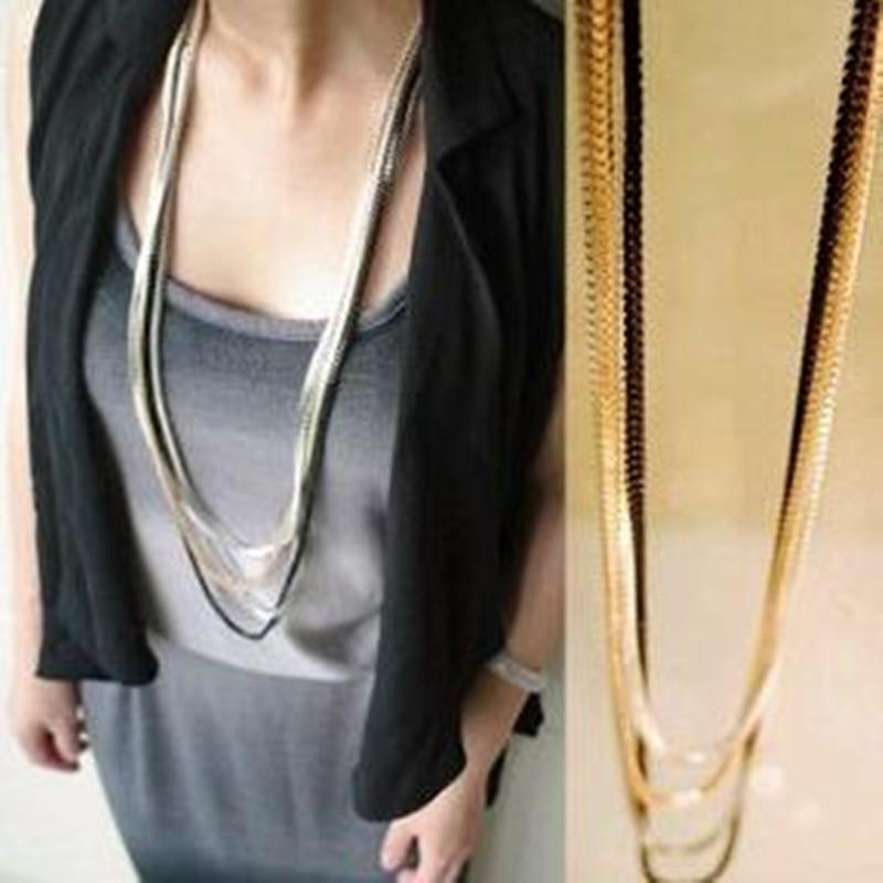 Women Punk Collars Tassel Necklace Long Chain bijoux New Vintage Style Multi-layerintothea-intothea