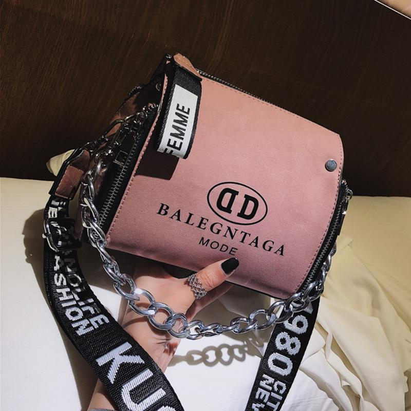 Barrel Shaped Thick Chain Design Bucket Shoulder Bag with Letter Wide Strapintothea-intothea