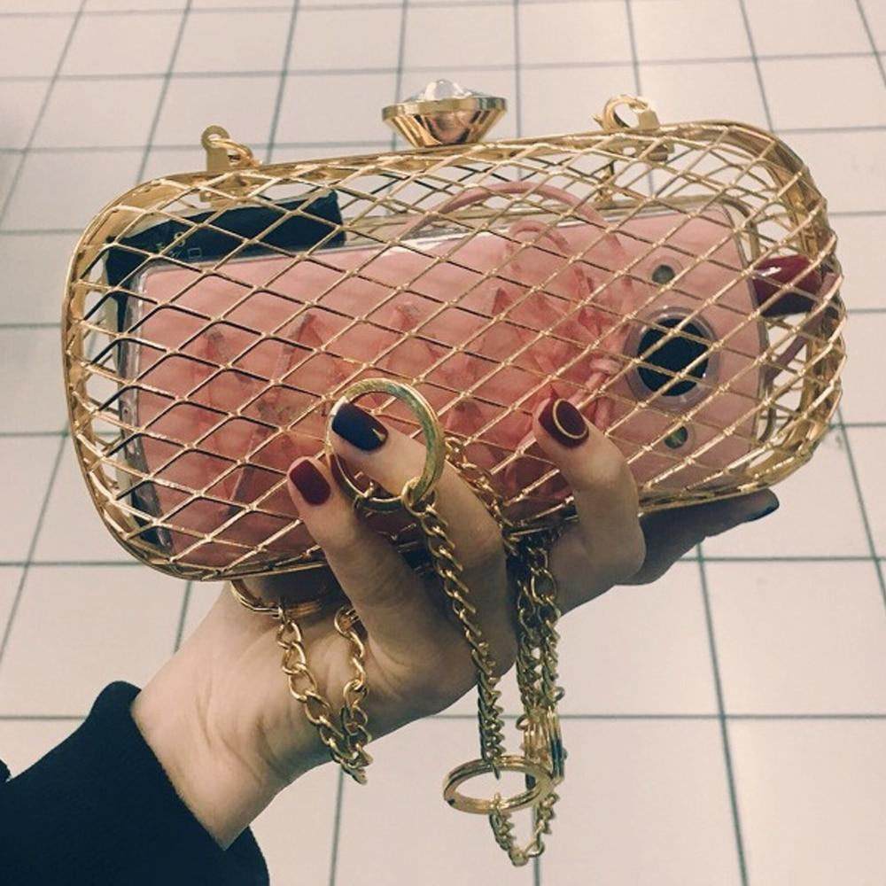 Fashion Design Unique Personality Hollow Metal Cages Party Clutch Evening Bag Womenintothea-intothea