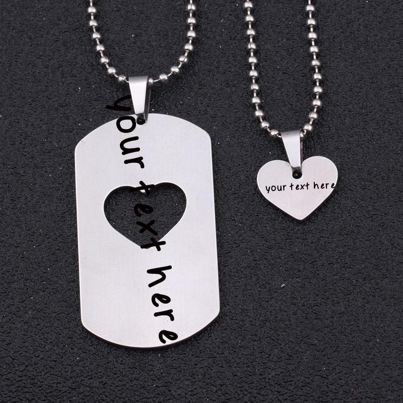 engarved personalized necklace set Army card + heart set sweater necklace anyintothea-intothea