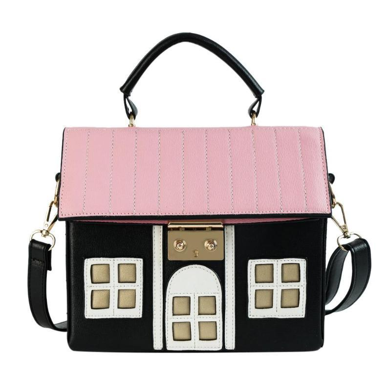 Women Stylish House Shaped Messenger Bags PU Leather Crossbody Bag for Ladiesintothea-intothea