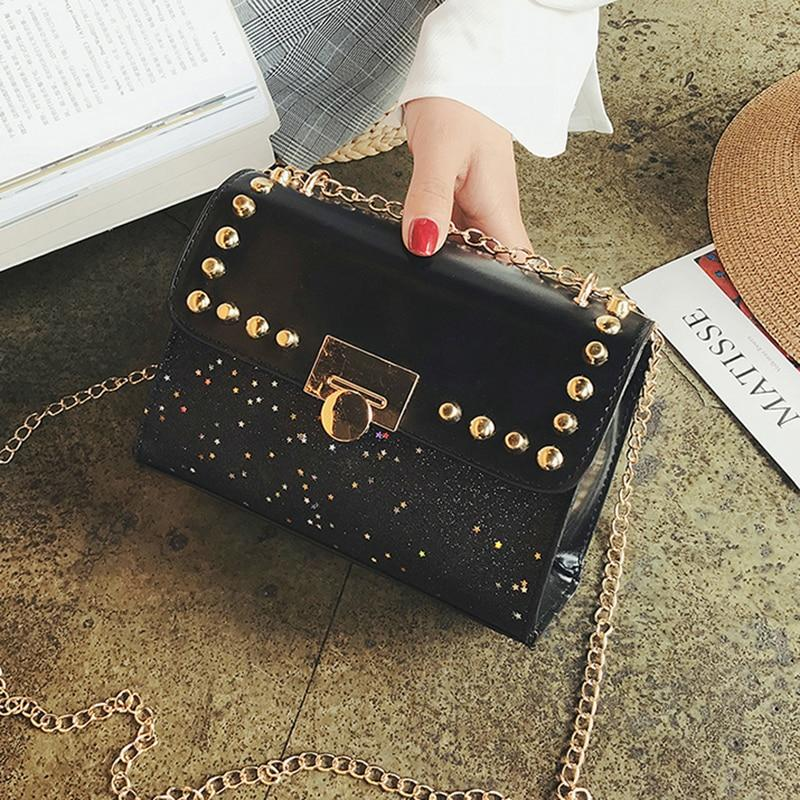 2018 New Chain Sequins Women Bag Rivets Matte Women Messenger Bag Eveningintothea-intothea
