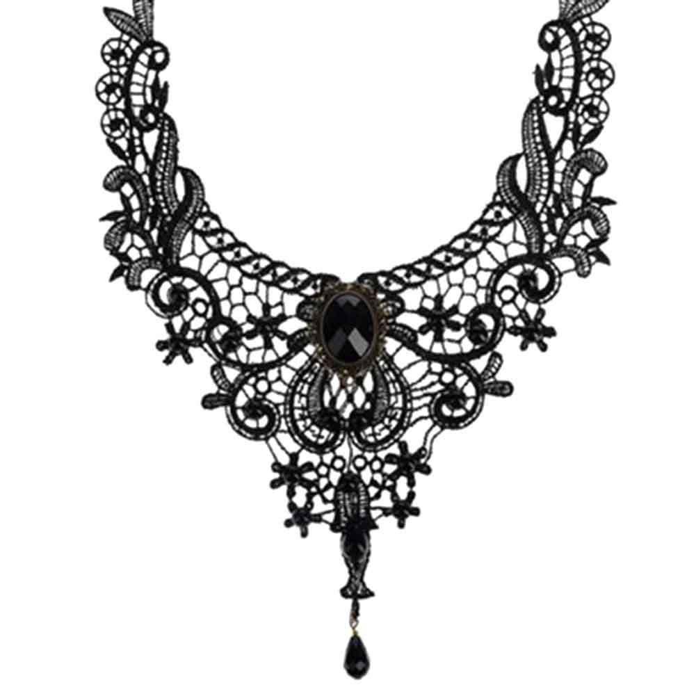 Gothic Style Vintage Flower Lace Bib Necklaces For Woman Alloy Black NL2412intothea-intothea