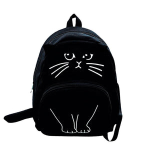Cute Cat Canvas Backpack Cartoon Back to School Backpacks for Teenagers Girlsintothea-intothea